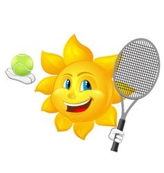 Cartoon sun is playing tennis vector