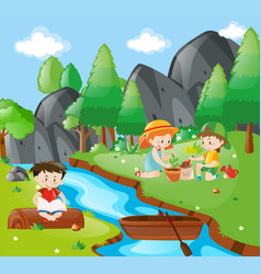 children planting tree in the forest vector image