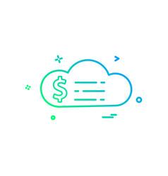 cloud dollar money icon design vector image
