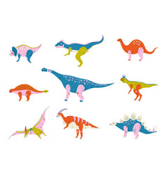 collection colorful dinosaurs brontosaurus vector image