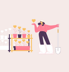 concept scene with woman who grows her likes vector image