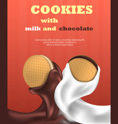 cookies biscuit vertical banner realistic style vector image