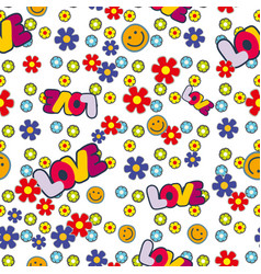 Cute hippie seamless pattern design with flowers vector