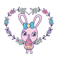cute rabbit girl with sweet cupcake valentines day vector image