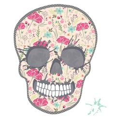Cute skull with floral pattern vector image