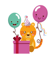 Cute tiger gift balloon kawaii birthday vector