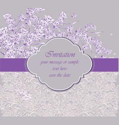 Delicate lace card with lavender flower vector