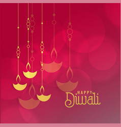 Diwali festival greeting card design with hanging vector