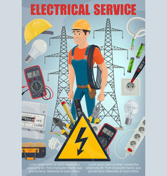 electrical repair service electrician and tools vector image