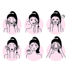 face skin care set isolated woman vector image