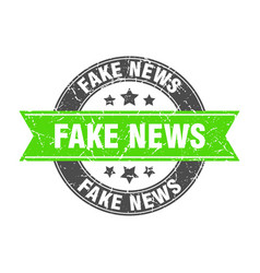 Fake news round stamp with ribbon label sign vector