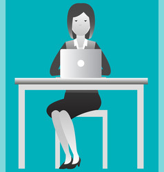 female working on computer desk at the office vector image
