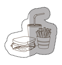 Figure sandwich soda and fries french icon vector