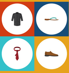 flat icon dress set of uniform beach sandal male vector image