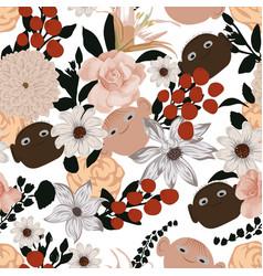 Flowers seamless pattern black white cartoon man vector