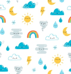 Fun weather pattern on white background vector image