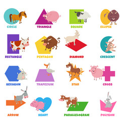 Geometric shapes with cartoon farm animals set vector