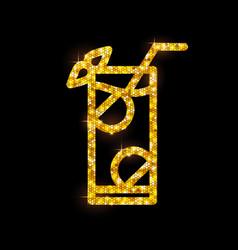 golden cocktail flat icon mojito vector image