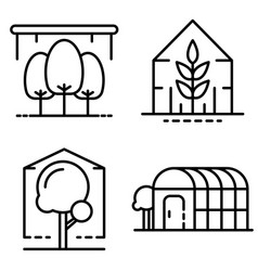 Greenhouse icons set outline style vector