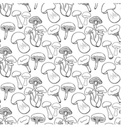 hand drawn mushrooms seamess pattern doodle vector image