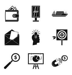 Handout icons set simple style vector