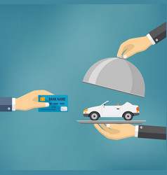 hands holding credit card and cloche with car vector image