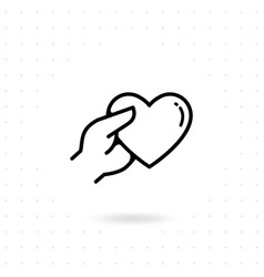 hands with heart icon vector image