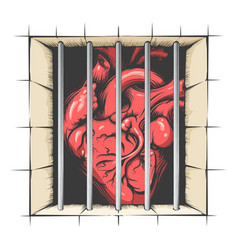 heart in jail vector image