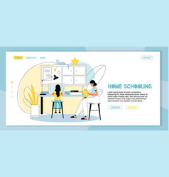 Home schooling e-learning for kid landing page vector