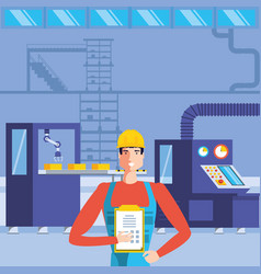 Industrial worker in technified factory vector