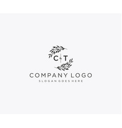 Initial ct letters floral frames monogram wedding vector