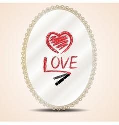 Inscription lipstick on mirror vector image vector image