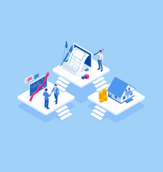 isometric architect drawing on architectural vector image