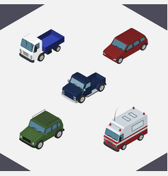Isometric car set of lorry armored first-aid and vector