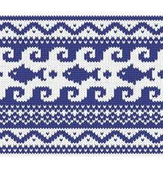 knitted marine pattern vector image