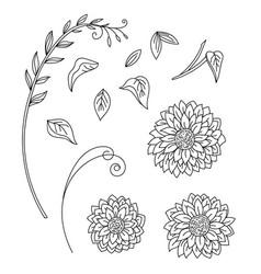 line art set sunflower flowers vector image