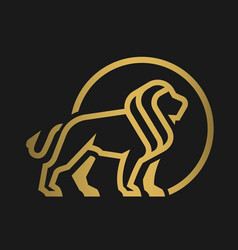lion logo emblem on a dark background vector image