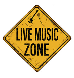 live music zone vintage rusty metal sign vector image
