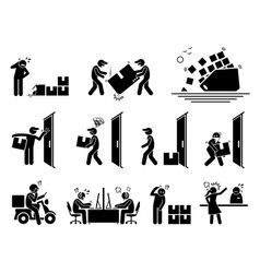 Logistic and shipping problem icons set of vector