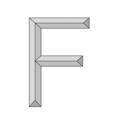 logo three dimensional letter f capital vector image