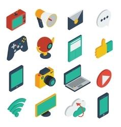 Media isometric icons set vector