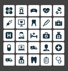 Medicine icons set collection of mark pellet vector