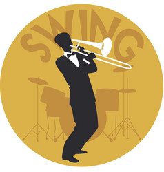 Musical style swing silhouette of trombonist and vector