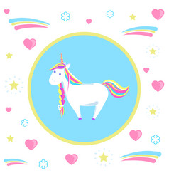 mysterious unicorn with rainbow mane and sharp vector image