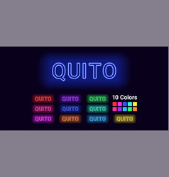 Neon name of quito city vector