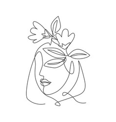 one continuous line art drawing minimalist woman vector image