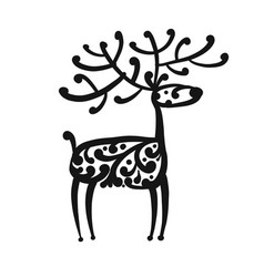 ornate deer sketch for your design vector image