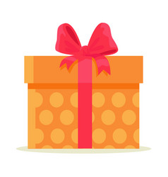 package wrapped in colorful paper with orange dots vector image