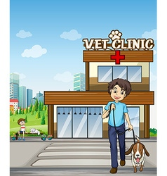 People taking pet to animal clinic vector