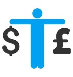 Person Compare Dollar Pound Flat Icon vector image